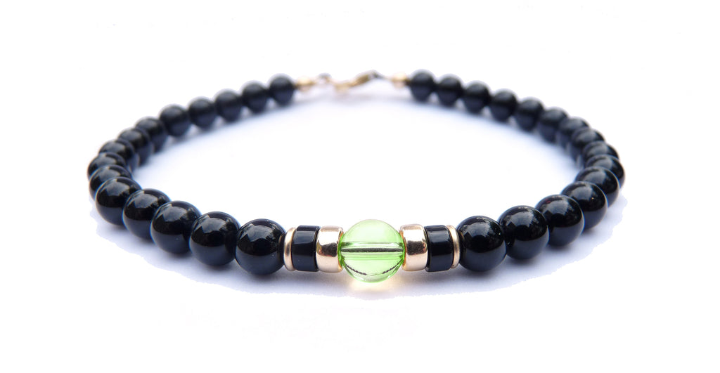 Gold Mens Peridot Birthstone Bracelet, 14K GF August Gemstone Beaded Bracelet, Jewels for Gents
