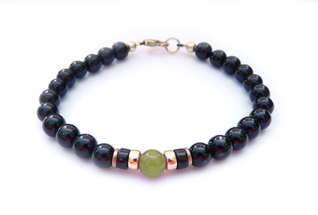 Gold Mens Olivine (Dark Peridot) Birthstone Bracelet, 14K GF August Gemstone Beaded Bracelet, Jewels for Gents