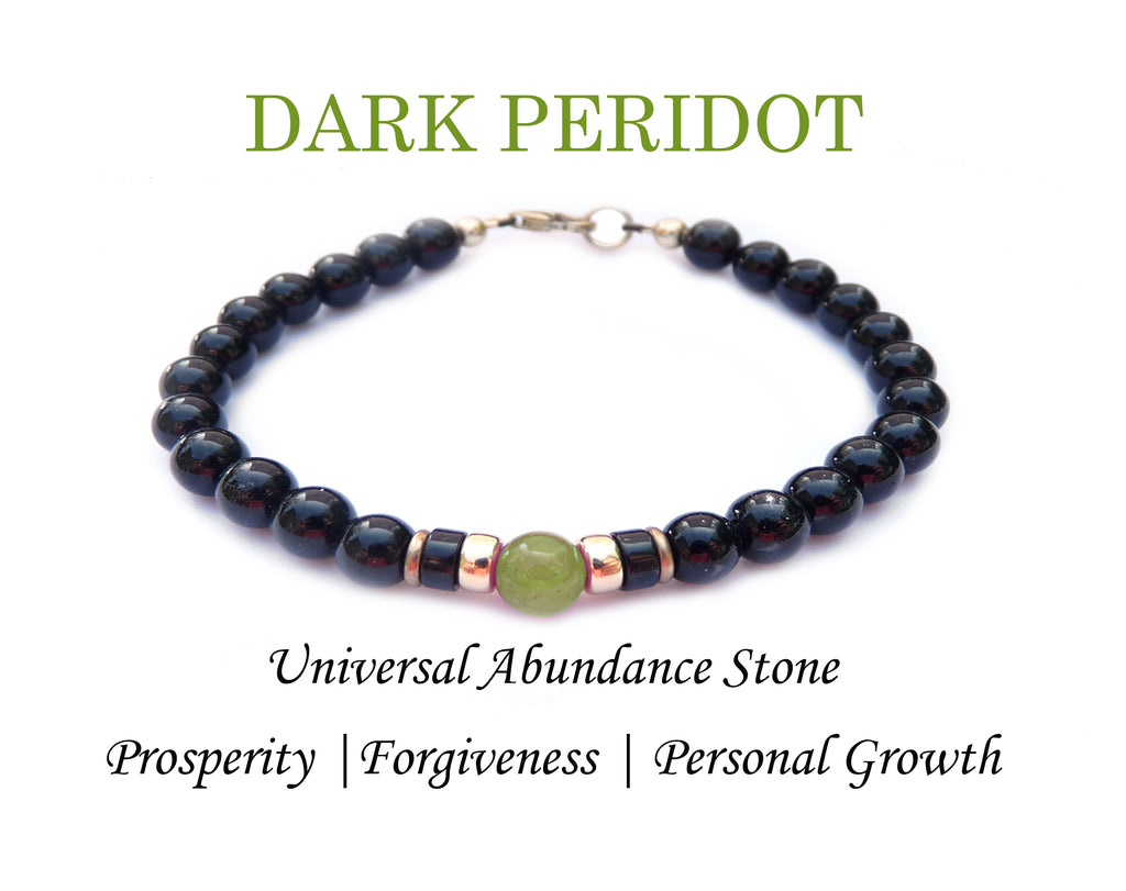 Mens DARK Peridot Birthstone Bracelet, Green August Gemstone, Men's Family Birthstone Gift, Add Your Kids Wife Daughter Husband Father Son Gifts