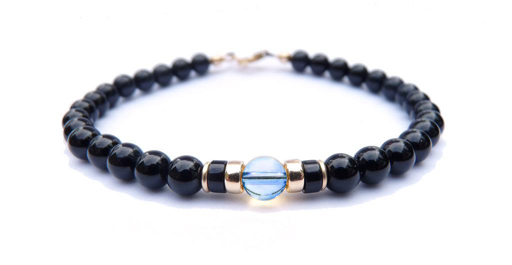 Gold Mens Blue Topaz Birthstone Bracelet, 14K GF November Gemstone Beaded Bracelet, Jewels for Gents