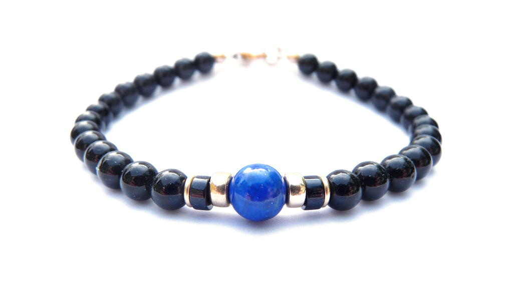 Gold Mens Lapis Lazuli Birthstone Bracelet, 14K GF Gemstone Beaded Bracelet, Jewels for Gents
