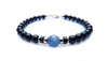 Gold Mens Kyanite Birthstone Bracelet, 14K GF Gemstone Beaded Bracelet, Jewels for Gents