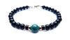 Gold Mens Chrysocolla Bracelet, 14K GF Gemstone Beaded Bracelet, Jewels for Gents