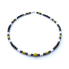 Mens Turquoise & Onyx Necklace, Gemstone Beaded Crystal Healing Chakra Jewels for Gents MNNEC21