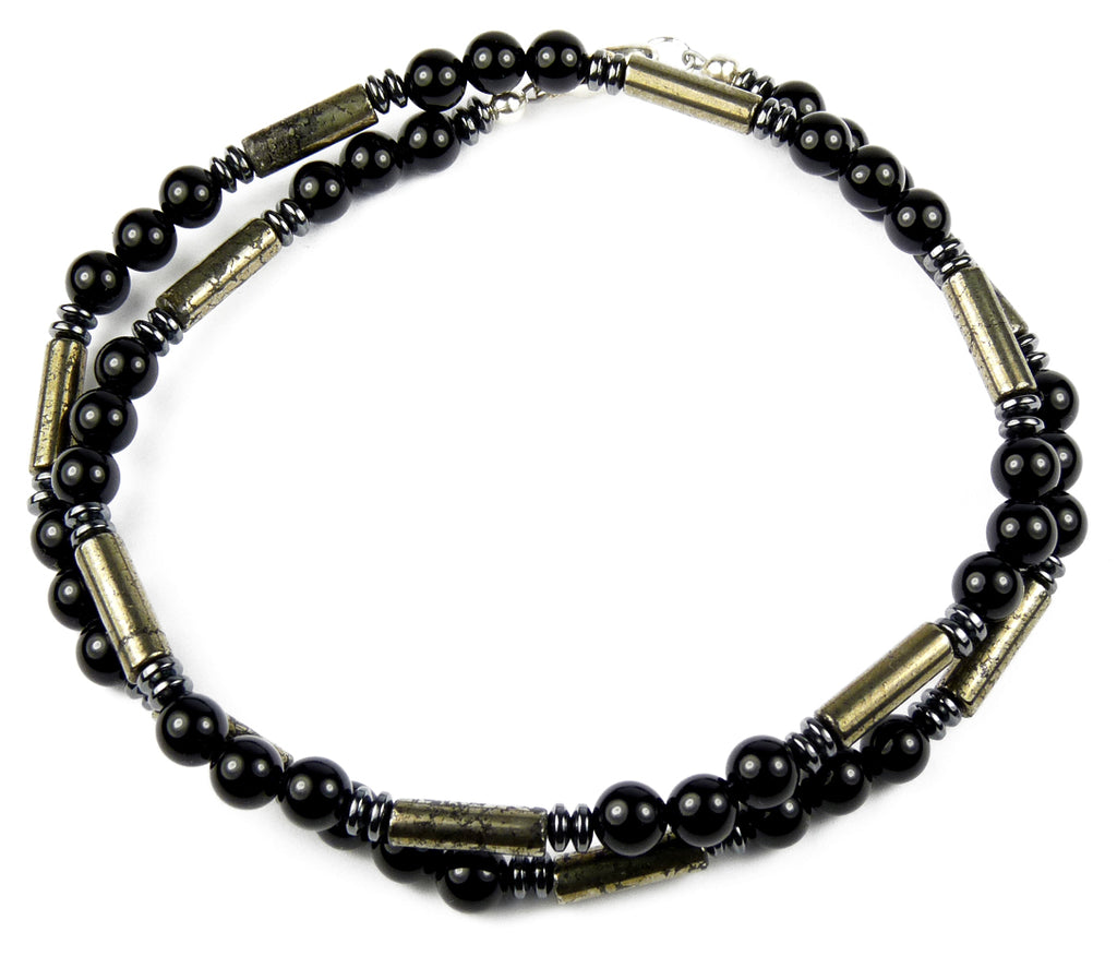 "DAMALI ""Performance"" Men's Crystal Healing Necklace Gold Pyrite, Black Onyx, Hematite MN24 Large 20 Inches"