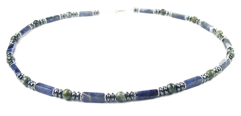 with lapis lazuli wood and tiny metal beads mens macrame necklace handmade and one of a kind Mens sodalite netted stone pendant