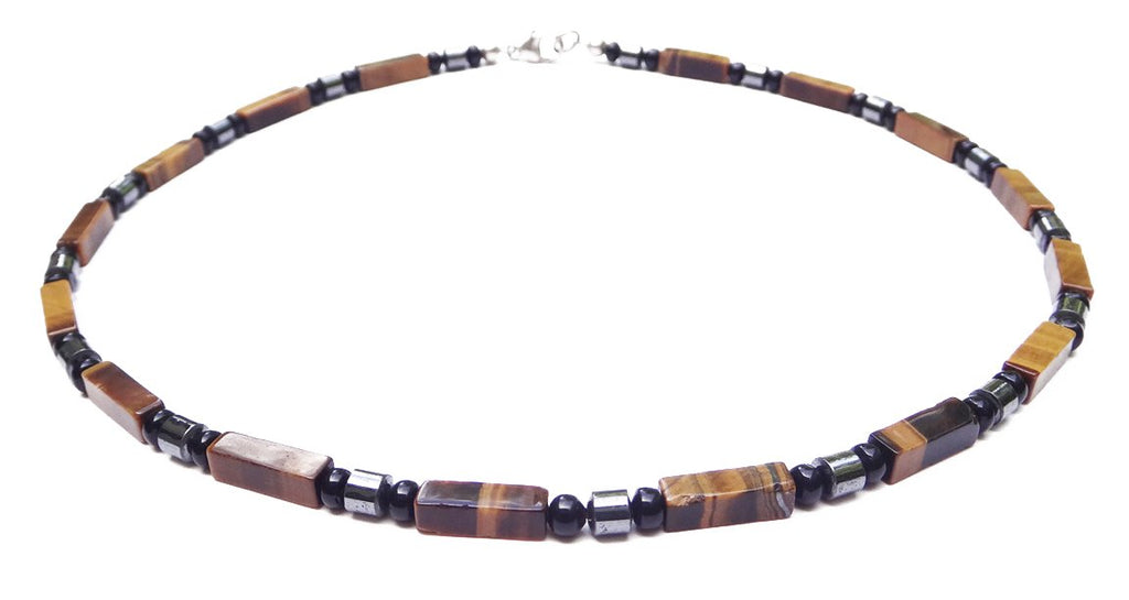 "DAMALI ""Stable & Grounded"" Men's Crystal Healing Intention Necklace Yellow Tiger Eye, Onyx, Hematite MN36 Large 20 Inches"