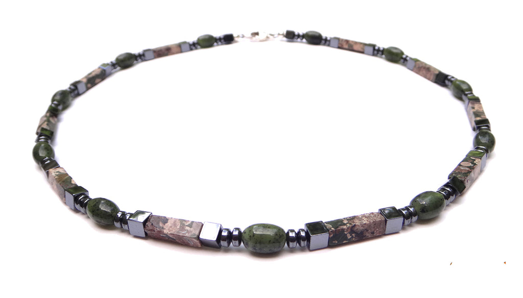 Jade Mens Chakra Necklace, Mens Gemstone Beaded Necklaces, Rhyolite Jasper Crystal Healing Jewelry - Jewels for Gents  - DAMALI by GemstoneGifts Handmade Jewelry
