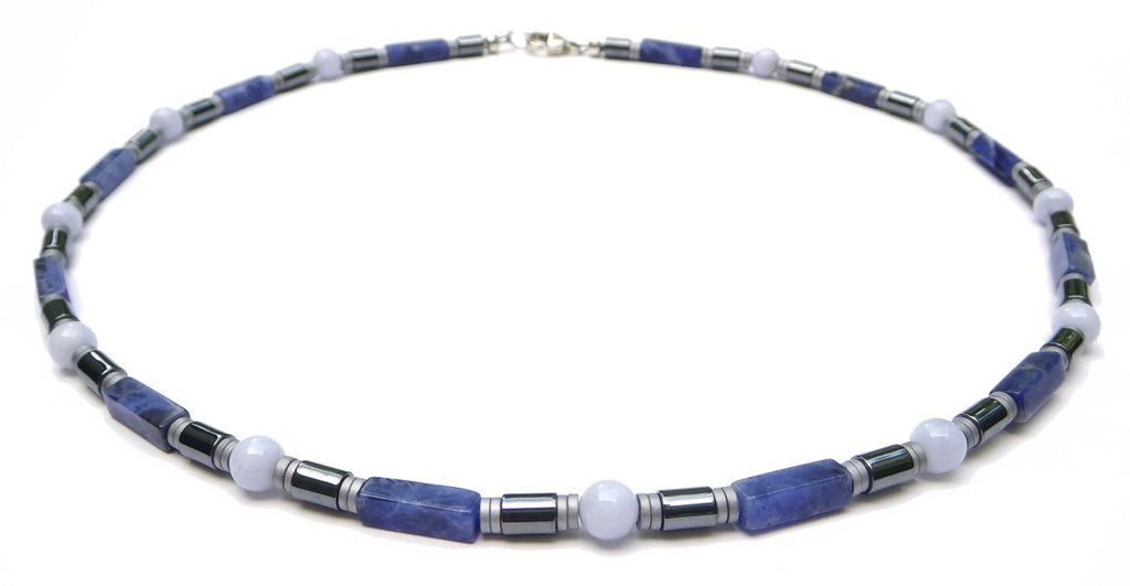 "DAMALI ""Inner Peace"" Men's Crystal Healing Necklace Blue Sodalite, Blue Lace Agate, Hematite  MN39 Large 20 Inches"