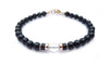 Gold Mens Quartz Crystal Birthstone Bracelet, 14K GF April Gemstone Beaded Bracelet, Jewels for Gents