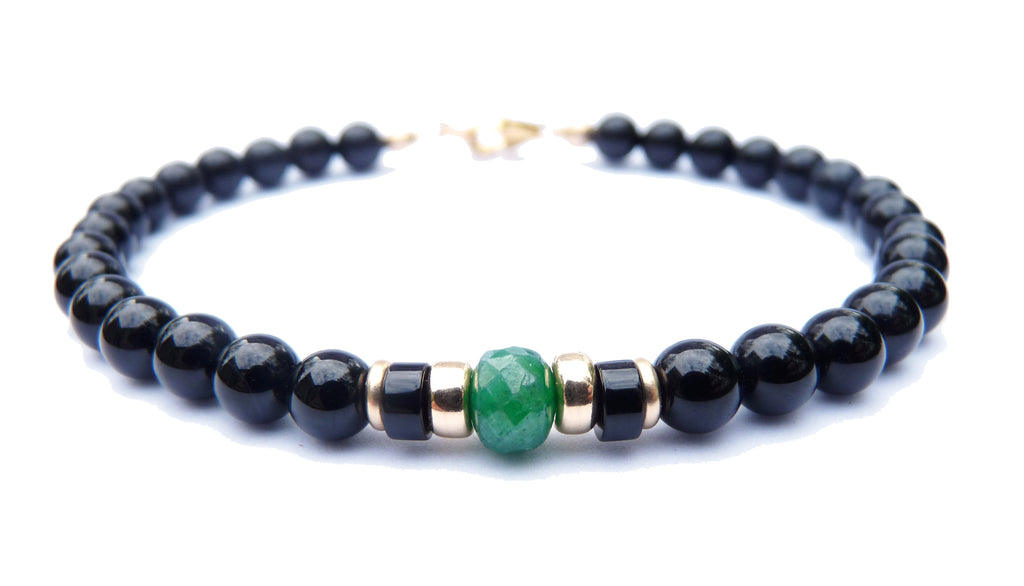 Gold Mens Faceted Emerald Birthstone Bracelet, 14K GF May Gemstone Beaded Bracelet, Jewels for Gents