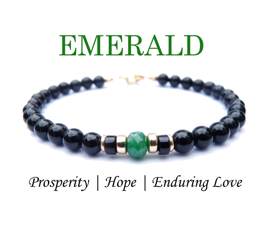 Mens Faceted Emerald Birthstone Bracelet, Green May Gemstone, Men's Family Birthstone Gift, Add Your Kids Wife Daughter Husband Father Son Gifts