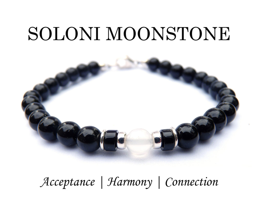 Mens SOLONI Moonstone Birthstone Bracelet, White June Gemstone, Men's Family Birthstone Gift, Add Your Kids Wife Daughter Husband Father Son Gifts