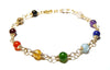 14K GF Genuine Chakra Bracelet, Designer Grade Gemstone Inspirational Yoga Prayer Mala Intention Bracelet B7018