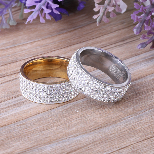 1 PC 2017 Unisex Women Men 5 Row Crytral Zircon Jewelry Gold Silver Stainless Steel Wedding Band Rings