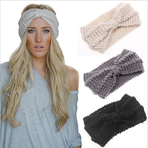 1 PC Winter Women Lady Ear Warmer Crochet Bowknot Turban Knitted Head Wrap Hairband  Headband Headwear Hair Band Accessories
