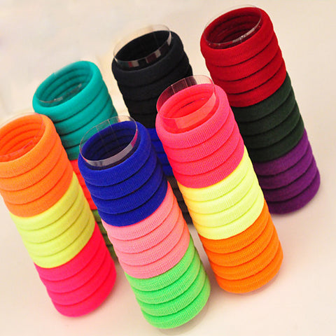 100 Pcs /Pack Hair Holders High Quality Candy Colored Rubber Bands Hair Elastics Accessories Girl Women Tie Gum Hair Styling