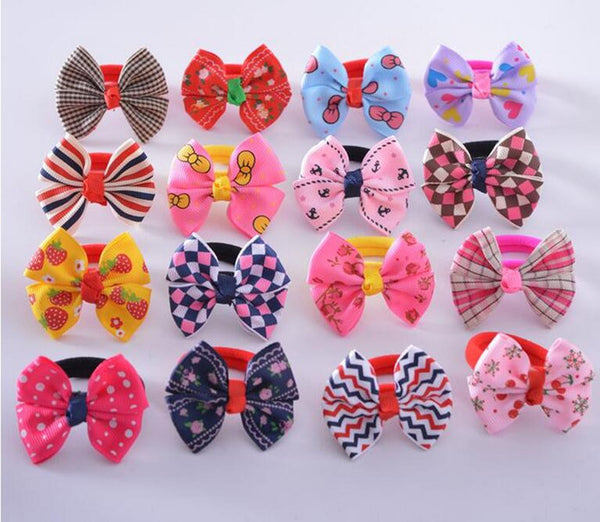 10pcs/lot 2017 korean Butterfly Bow Flower Print Elastic Hair Rope Bands Baby Girls Ponytail Holder  Hair Accessories Headwear