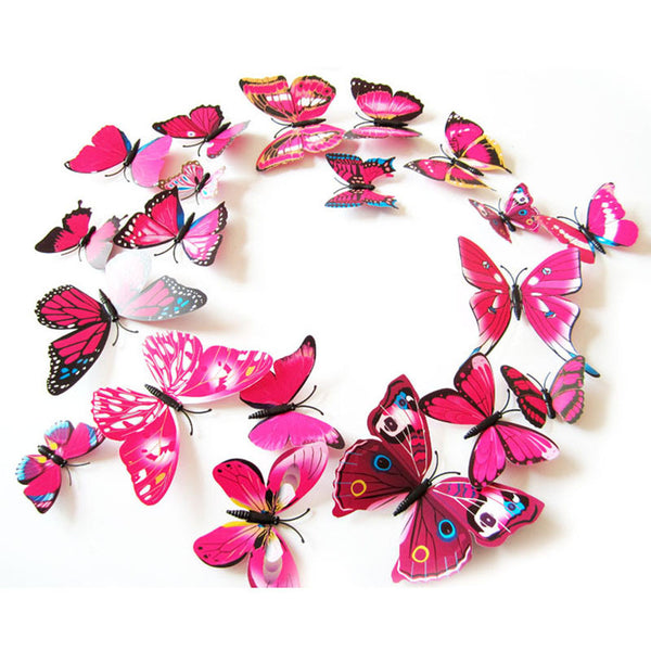 12pcs 3D PVC Wall Stickers Magnet Butterflies DIY Wall Sticker Home Decoration