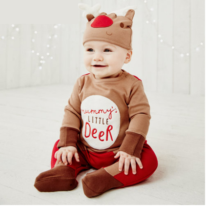 Christmas Clothes Fawn + Hat For Babies.