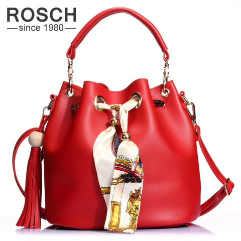 2 Set Women Bucket Bag  Tassel Composite Handbag Luxury Brand Design PU Leather Female Messenger top-handle Tote with Ribbon