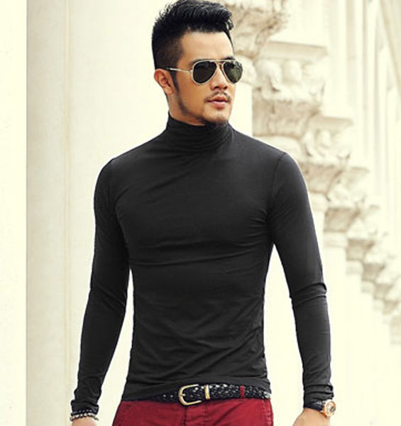 2017 Autumn And spring New Clothes Men's Solid Color Bottoming Shirt Slim Stretch Lycra Cotton Long-Sleeved High-Necked T-Shirt