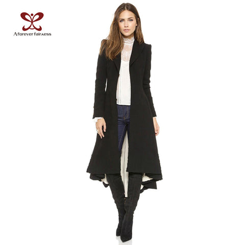 Autumn Women Coat European style Long Sleeve Casual Trench Coat Long Maxi Dovetail Fashion Slim Black Trench Coats