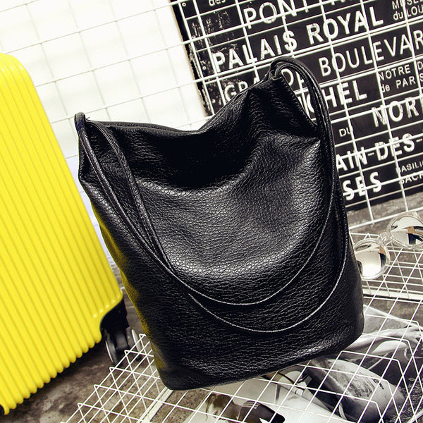 Women Leather Handbags Black Bucket Shoulder Bags Ladies Crossbody Bags Large Capacity Ladies Shopping Bag Bolsa