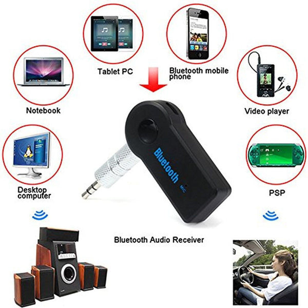 2017 Car Bluetooth Music Receiver Universal 3.5mm Streaming A2DP Wireless Auto AUX Audio Adapter With Mic For Phone MP3