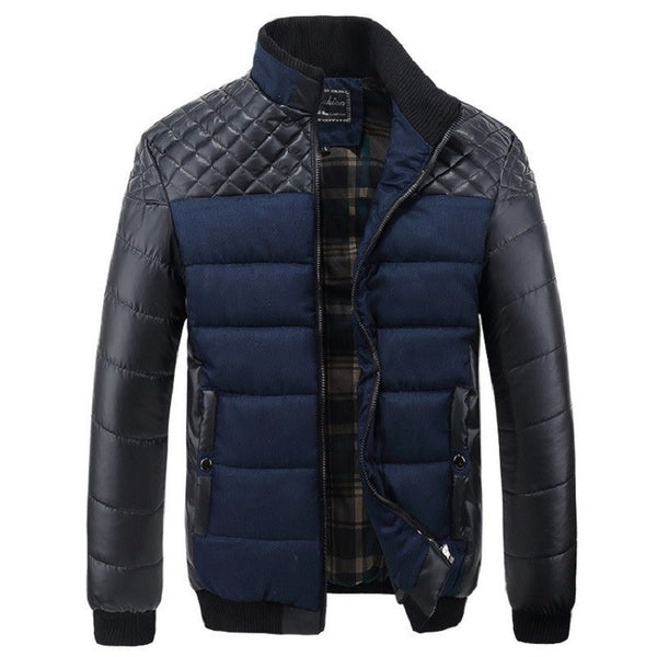 New Classic Brand Men Fashion Warm Jackets Plus Size L-4XL Patchwork Plaid Design Young Man Casaul Winter Coats