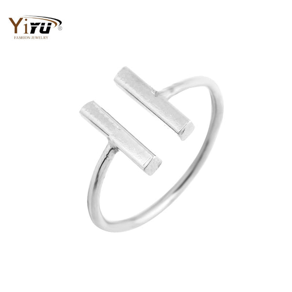 2017 New F Classic Double Bars Rings Women Cool Unique Adjustable Bar Shape Midi Rings for Women