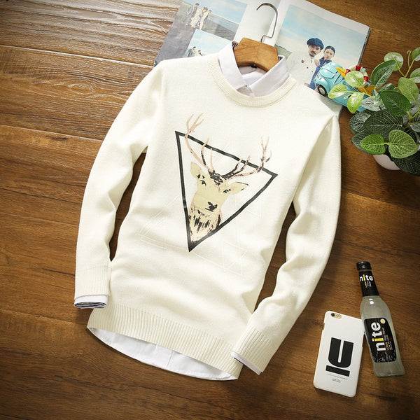 Men Casual Sweater With Deer Mens Cashmere Wool Pullover Christmas Sweater Men Knitted Sweater Clothing