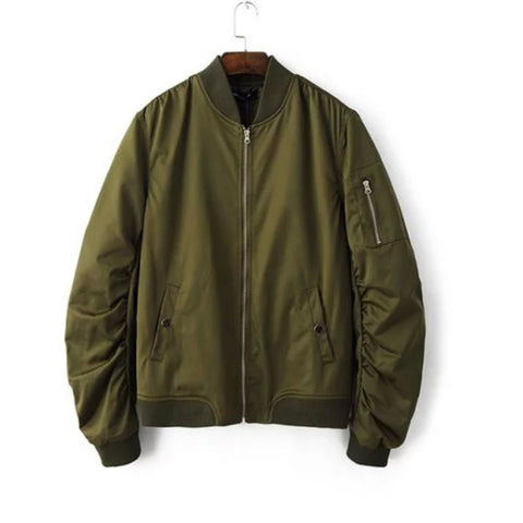 2016 Spring Autumn Mens Solid Flight Army Green Bomber Jacket Men's Rib Sleeve Zipper Short Air Force Baseball Coats Clothing