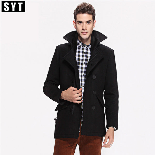 2017 Men's Winter Casual Breasted Men's Overcoat Jacket Slim Outerwear Wool Men Coat High Quality