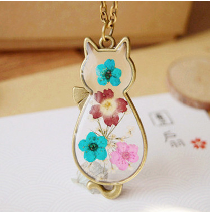 Cat Necklace - Cat Shaped Glass Necklace