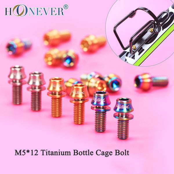 4PCS M5x12mm Titanium Bottle Cage Bolt 3Colors Cone Bike Bottle Holder Screw Cycling Accessories Bicycle Water Bottle Cage Bolts