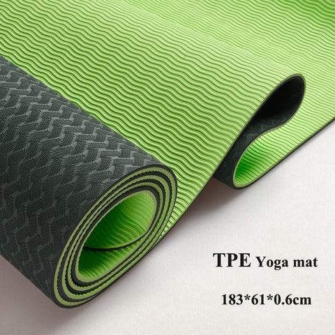 6MM TPE Non-slip Yoga mats fitness Three parts environmental tasteless colchonete fitness yoga gym exercise mats(183*61*0.6 cm)
