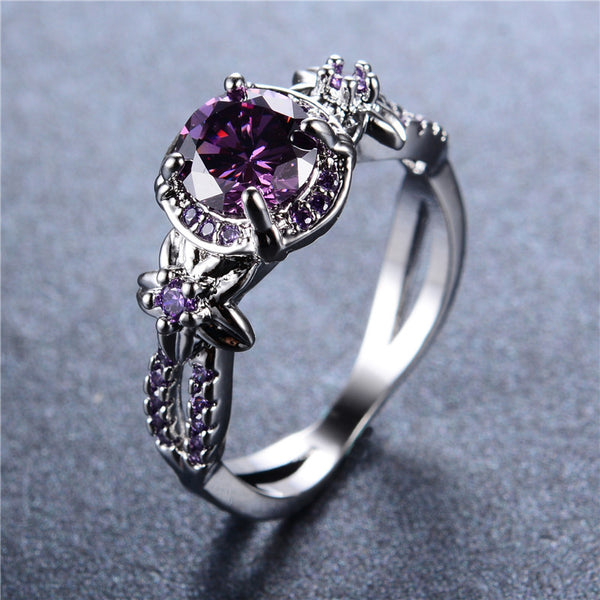 Sterling Silver Ring Vintage Hollow Round Amethyst Jewelry for Women Purple Zircon Claw Rings Aneis Wedding Band Gift