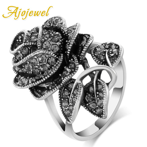 2017 Vintage Jewelry Antique Silver Plated Black Crystal Rhinestone Big Rose Flower Rings For Women Romantic