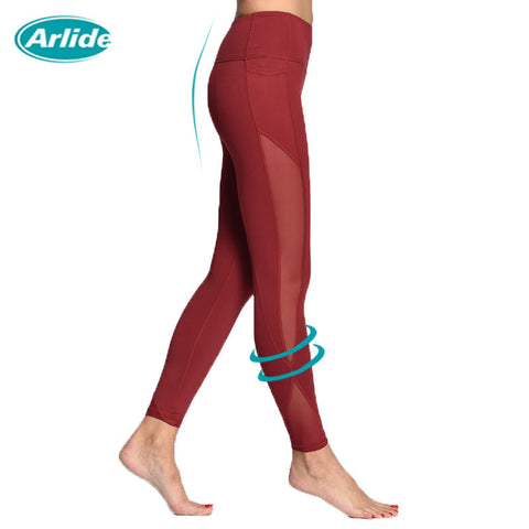 Arlide Women Yoga Compression Pants Mesh Leggings Pants Elastic Tights Sexy Yoga Capri with Pocket for Workout Gym Jogging