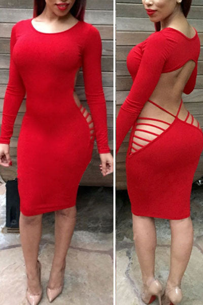 Autumn New Sexy Long Sleeve Side 2 Colors Open Back Cut Out Club Bodycon Party Dress