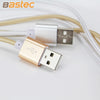 USB Data Charger Cable Nylon Braided Wire Metal Plug Micro USB Cable for iPhone & Android Phones