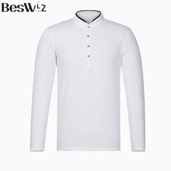 Beswlz Men Tops T-Shirt Spring Autumn Long Sleeve Business Casual Cotton Slim T Shirts Men Brand Clothing Plus Size Top Tees
