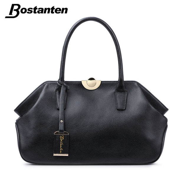 Bostanten Genuine Leather Bags Ladies Real Leather Bags Women Handbags High Quality Tote Bag for Women Black Fashion Clip Hobos