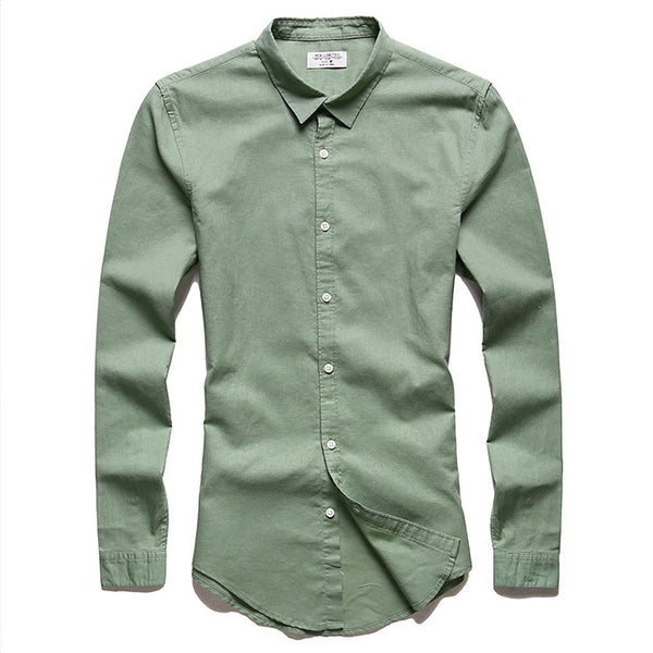 Brand Linen Men's Shirts Long Sleeve Male Slim Fit Casual Business Shirt Solid Flax dress shirt for man 8 Color XXL high quality