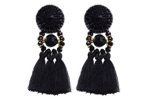 Black tassel statement big dangle earrings for women fashion crystal earring jewelry accessories bohemia retro ethnic