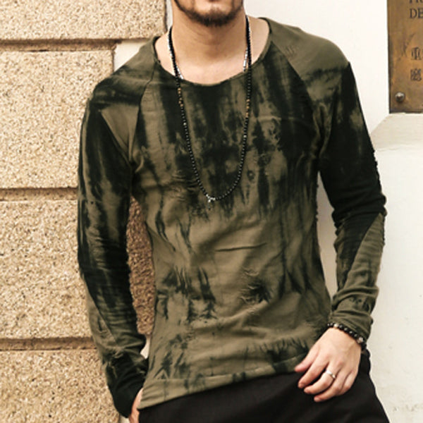 Cotton long sleeve t shirt men 2017 new Dark green tie-dye Stylish Frazzle TeeTops Slim Fit O-neck T-shirt Casual brand clothing
