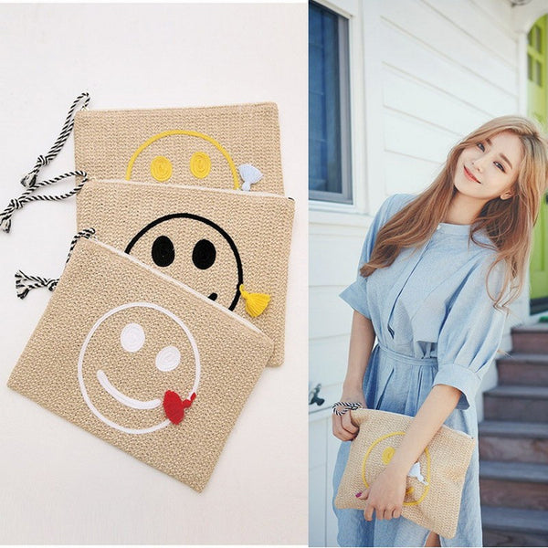 2017 Smile Face Straw Beach Handbags Women Weave Clutch Envelop Tassel Bags Ladies Embroidery Messenger Bag Clutch