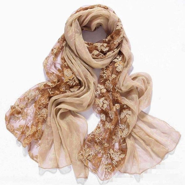 Embroider flower winter spring faux Silk scarf women scarves and stoles 2017 fashionable brand lace chiffon shawls,foulard femme