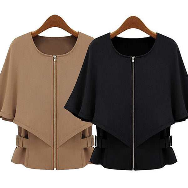 Wool Blend Coats Female Waist Was Thin Shawls Batwing Sleeved Short Sections Jackets